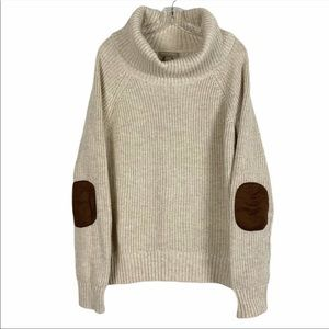 BANANA REPUBLIC Cowl Elbow Patch Chunky Sweater